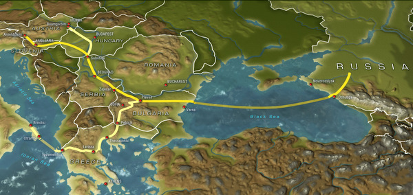 South Stream on the map of Europe
