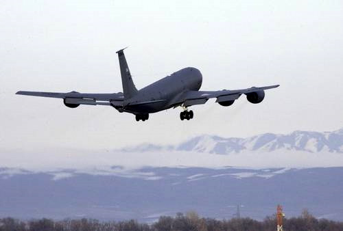 Speculation Intensifies over the Future of Manas, A KC-135 of U.S Air Force takes off from Manas U.S. air base near Bishkek.
